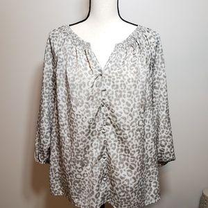 Loft Leopard Print Long Sleeve Blouse Large L